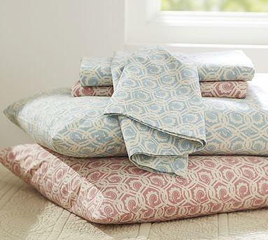 Shirley Organic Cotton Sheet Set, King, Blue traditional-sheets