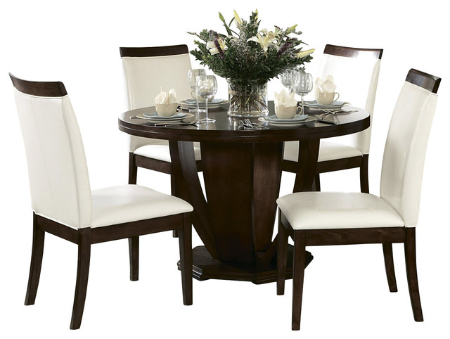 Homelegance Elmhurst Round Pedestal Dining Table In Brown Cherry Traditiona