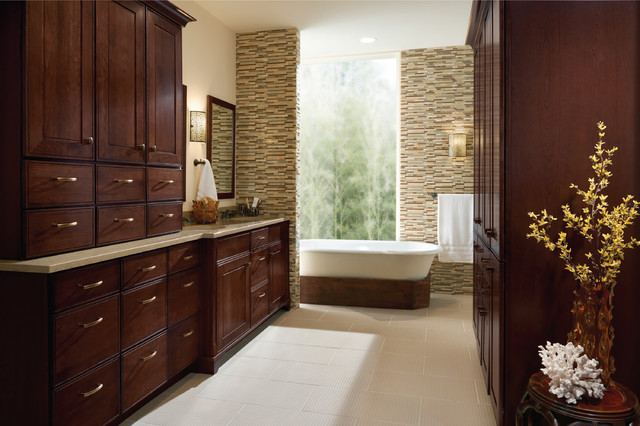 Kraftmaid - Garrison Cherry Bath Cabinets traditional bathroom vanities and sink consoles
