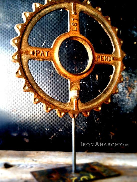 Antique Industrial Gear Decor - Antique Industrial Cast Iron Gear Sculpture