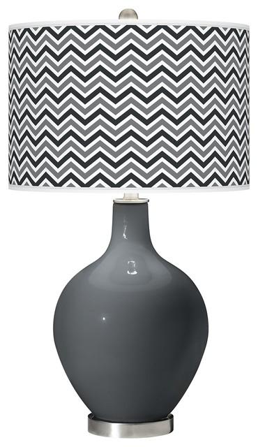 Contemporary Black of Night Narrow Zig Zag Ovo Table Lamp contemporary-table-lamps
