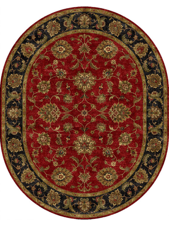 Jaipur Rugs - Traditional Oriental Pattern Red /Orange Wool Tufted Rug - MY08, 8x10 Oval - Sublime hues and graceful lines accentuate the traditional pattern motifs in Mythos, an elegant and value-driven range of durable, hand-tufted area rugs. This sophisticated collection is for the discriminating consumer with a passion for traditional design, at prices that answer every budget. The Mythos Collection is tradition, redefined.