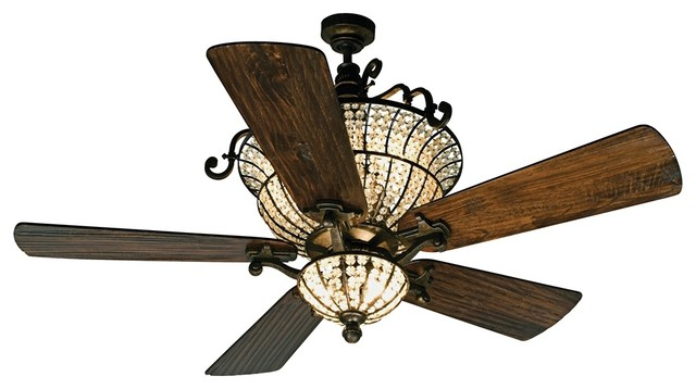 """Arts and Crafts - Mission 56"""" Craftmade Cortana In Peruvian With Crystal Ceiling traditional-ceiling-fans"""