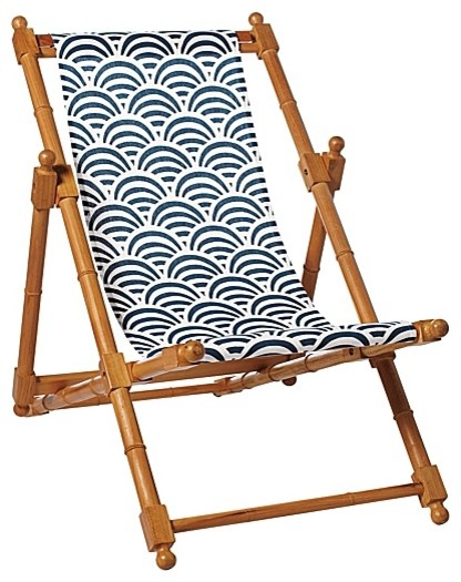 Navy Soleil Sling Chair Modern Outdoor Lounge Chairs