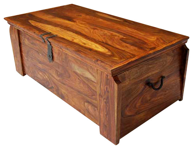 Solid Wood Storage Trunk Chest Box Coffee Table Rustic