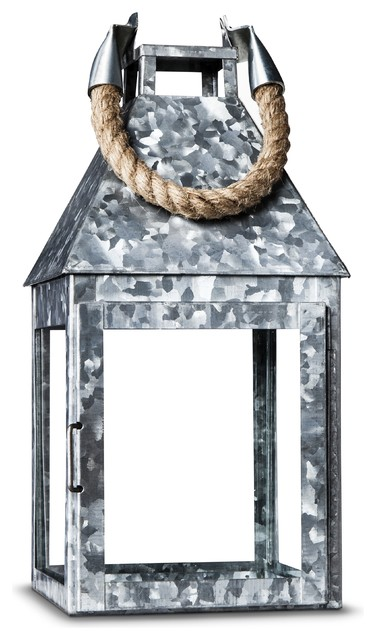 Threshold Galvanized Steel Lantern With Rope Handle