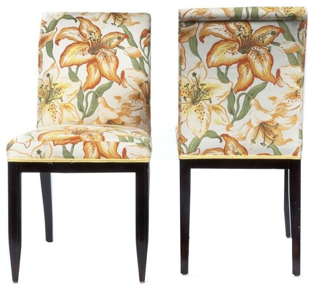 Floral upholstered dining chairs pair 1100 est retail 440 on