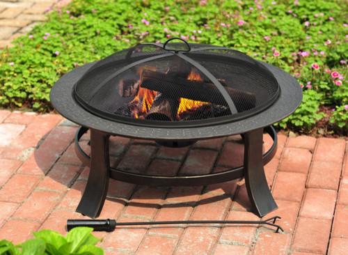 "30"" Matte Black Steel Wood-Burning Fire Pit traditional-firepits"