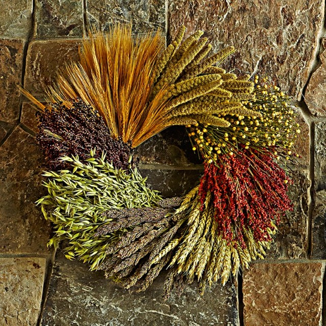Grains Wreath contemporary-wreaths-and-garlands