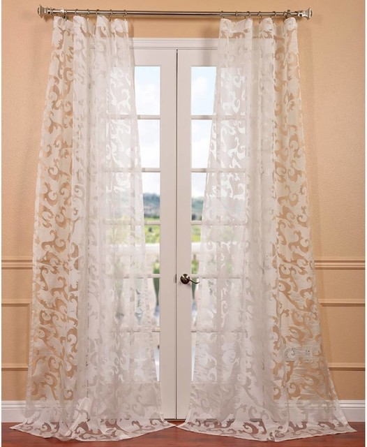 Alesandra White Patterned Sheer Curtain Panel Contemporary Curtains By
