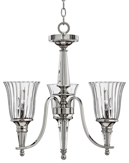 Contemporary Chandon Collection Sterling Finish Three Light Chandelier contemporary-chandeliers