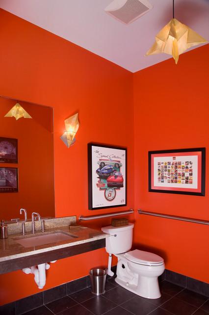 "New Construction: Garage ""Big Boy Toys"" eclectic-bathroom"