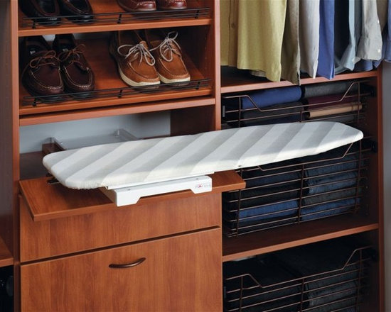 "Organize To Go Hafele Ironfix Shelf Mounted Ironing Board,Swivels 180 degrees - Incorporate an ironing board into your closet with Ironflex ironing system from Häfele.  This shelf-mounted ironing board fits into a 24"" wide x 14"" deep space in the folded position.  The extended board length is 37 ½"" and has the capability of rotating 180º with seven pre-set positions. Due to the absence of ball-bearing slides, clothing remains free from grease or pinch point damage. Ironfix is easily mounted to a shelf with through bolts and a replacement heat-resistant cover is available for the ironing board if needed."