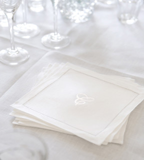 Linen monogrammed white embroidered cocktail napkins for White linen cocktail recipe