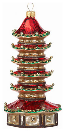 Red Pagoda Ornament Asian Christmas Ornaments By Gumps