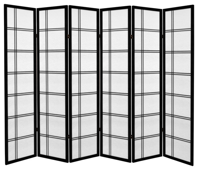 6 ft. Tall Canvas Double Cross Room Divider - Black - 6 Panels modern-screens-and-room-dividers