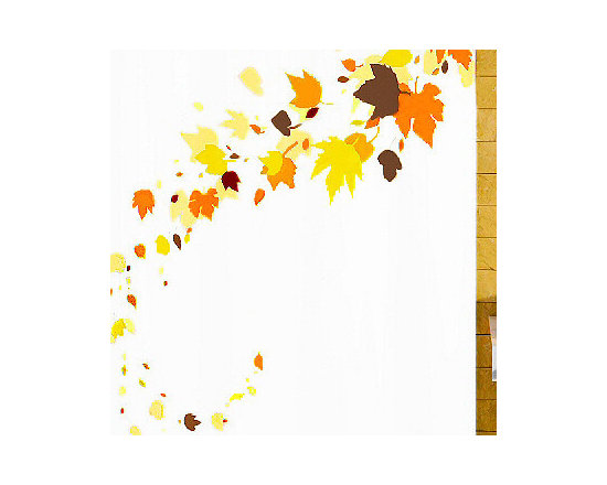 Leaves - Fall Themed Luxury Fabric Shower Curtain from Vita Futura - Our Leaves shower curtain is a beautiful fall-themed fabric shower curtain with orange, brown and yellow leaves over a white background. Much like the shower curtains you find in many luxury hotels and spas, this shower curtain does not require the use of a shower curtain liner.  Made of quick-dry and easy-care  fabric. Designed and produced in Germany.