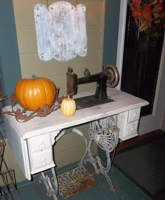 PMD Vintage Wood and metal 1905 Sewing Machine eclectic-side-tables-and-end-tables