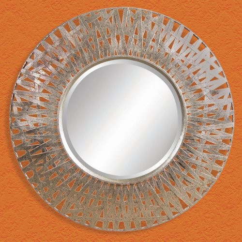 Silver with Red Accents Decorative Mirror - 38 diam. in. eclectic mirrors
