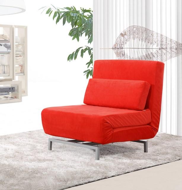 Romano Convertible Sofa Chair Red Fabric Modern Sofas