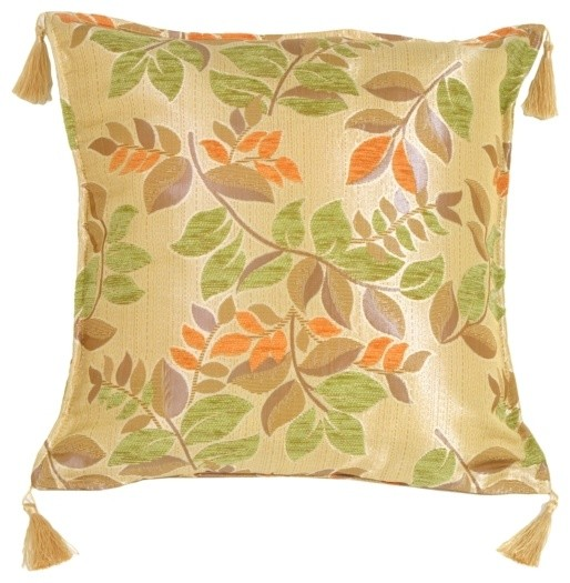 Modern Leaf Throw Pillow : Pillow Decor - Leaf Textures in Green and Orange Throw Pillow - Contemporary - Decorative ...