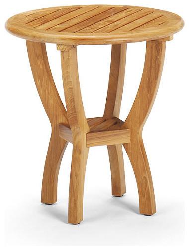 Isola round outdoor teak outdoor side table patio for Teak side table outdoor