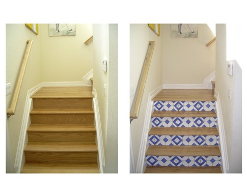 Transformation of Stairs with Casart Faux Tiles mediterranean staircase