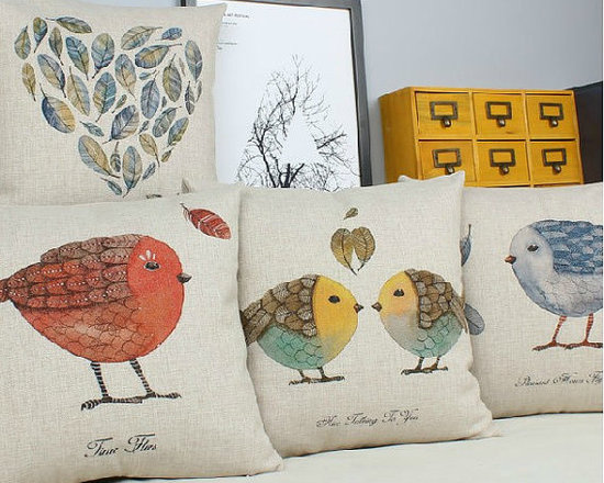 Bird Linen Pillow Cover by Sweety Fairy Studio -