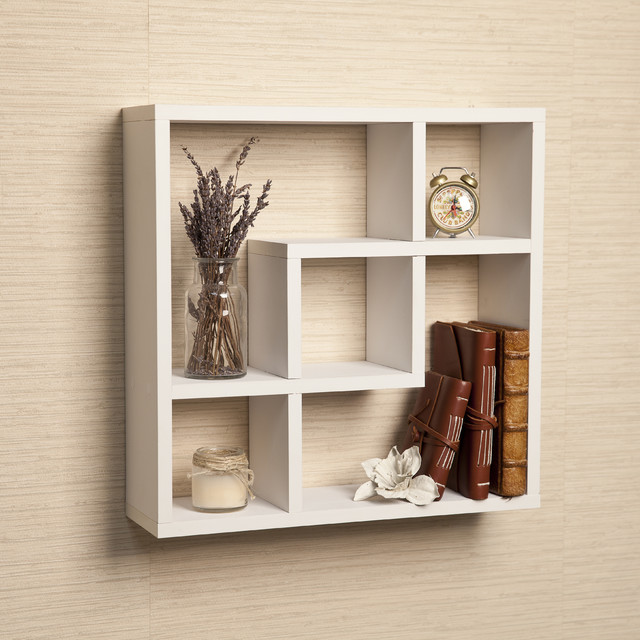 geometric square wall shelf with five openings white. Black Bedroom Furniture Sets. Home Design Ideas