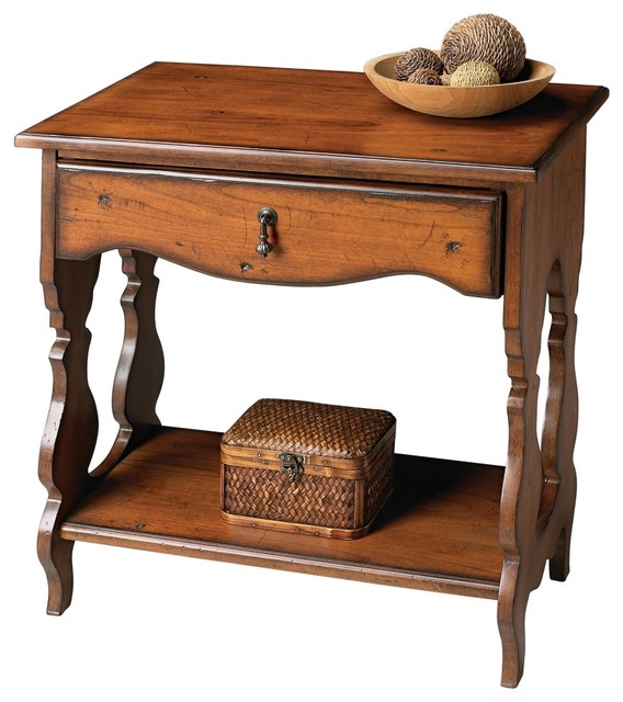 Country Cottage Masterpiece Collection Distressed Cherry Side Table Traditional Side