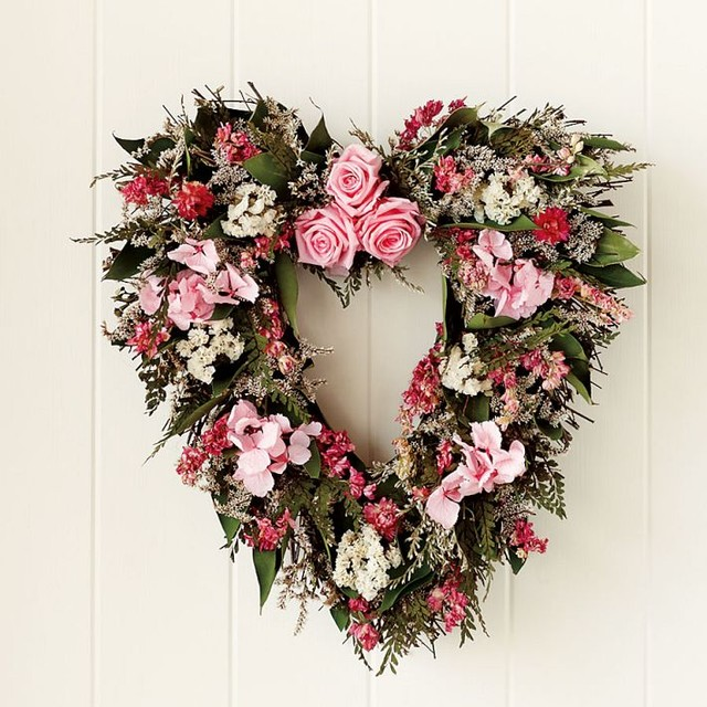 Pink Rose & Heart Wreath traditional-wreaths-and-garlands