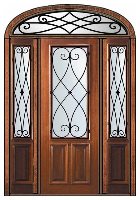 Pre-hung Side lights-Transom Door 96 Wood Mahogany Charleston mediterranean-front-doors