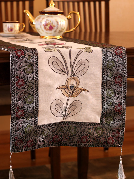 """Elegant Table Runners - Dazzling """"Hand Painted"""" table runner. Mystic Crystal color. Decorative Indian design. Black White"""