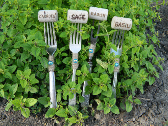 Vintage Sterling Silver & Silver-Plated Fork Plant Markers by Varleys Vintage eclectic-outdoor-decor
