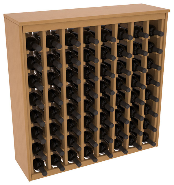 64 Bottle Deluxe Wine Rack in Ponderosa Pine, Oak Stain + Satin Finish contemporary-wine-racks