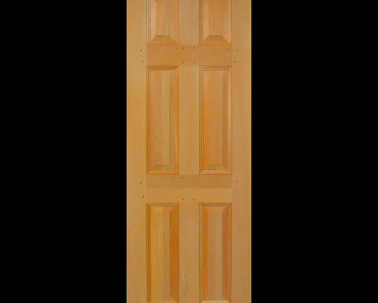 "Kestrel Shutters & Doors - Closet Doors - This traditional 6 panel door is often referred to a Cross and Bible door in reference to the layout of the center stile and rails forming a cross over an ""open bible""."