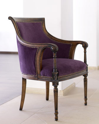 Eggplant Velvet Chair traditional-armchairs-and-accent-chairs