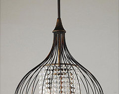 Indoor 3-Light Copper/Crystal Pendant Chandelier contemporary-chandeliers