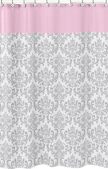 Elizabeth Pink And Gray Damask Shower Curtain By Sweet Jojo Designs Traditional Shower