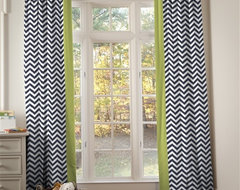 Navy and Citron Zig Zag Hidden Tab Drapes with Vertical Trim (Set of 2 Panels) contemporary curtains