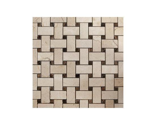Emperador Dark & Crema Marfil Basketweave Natural Stone Mosaic -