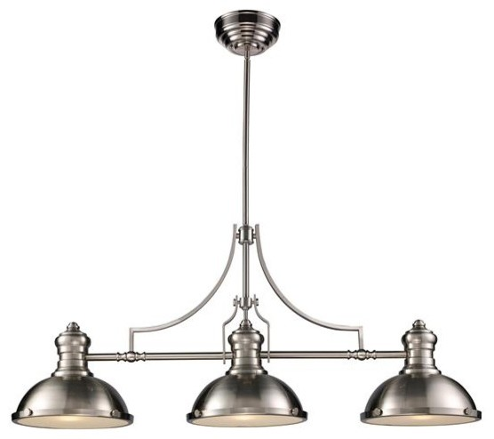Three Light Nickel Pool Table Light Modern Pendant Lighting By Elite Fi