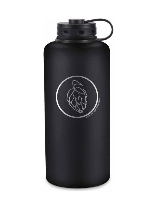 """Craft Beer Hound LLC - Best Growler Ever - This is the BEST growler EVER! Double-walled, vacuum-insulated stainless steel keeps your beer cold all day! Half gallon (standard 64 oz size) growler featuring our hop graphic design. Measures 5"""" x 12""""; Lightweight 18/8 stainless steel is 100% recyclable. Pint glass in image not included - pictured for scale only."""