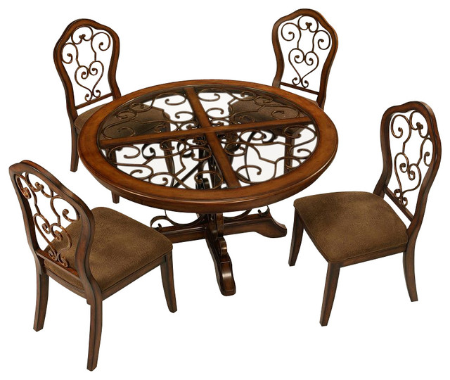 Pastel furniture carmel 5 piece 54 inch round dining room for Dining room tables 54 inches long