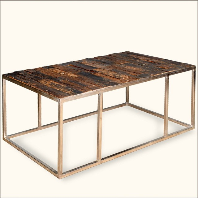 Contemporary Iron Railroad Tie Eco Smart Coffee Table Eclectic Coffee Tables Austin By