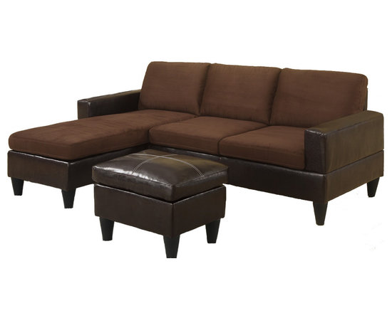 Adarn Inc. - 3 PC Sectional Sofa Microfiber Faux Leather Couch, Chocolate Two Tone - Crafted with clean lines and a strong design, this all-in-one sectional features comfort seating and back cushions for attractive simplicity. Select from a microfiber, faux leather or a combination of the two fabrics for a modern living space motif. It also includes an espresso colored faux leather ottoman for maximum style. Available in a variety of colors.