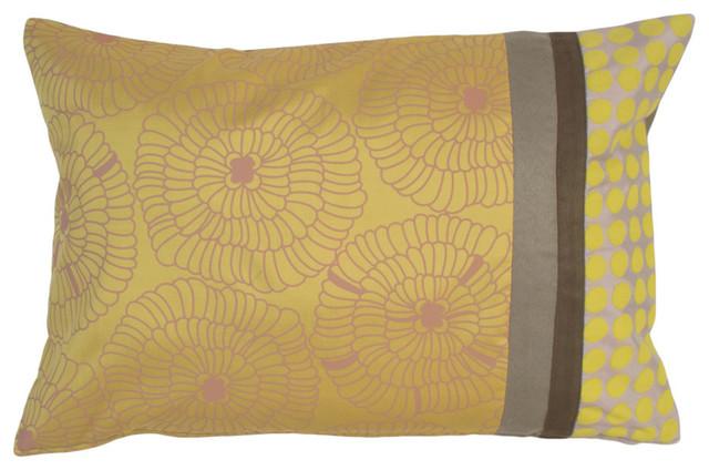Lily Gold Lumbar Silk Pillow Cover, Yellow-Gold and Gray, Lumbar - Contemporary - Decorative ...