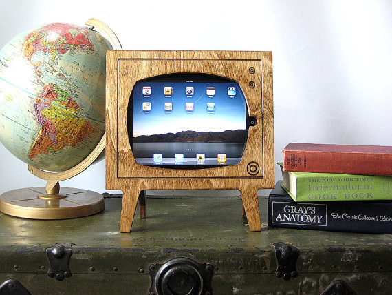 Handmade Natural Wood Retro TV iPad Dock By Miter Box eclectic-home-electronics
