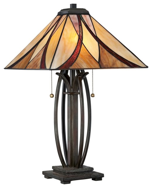 quoizel ashville bronze glass shade table lamp traditional lamp shades. Black Bedroom Furniture Sets. Home Design Ideas