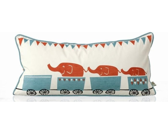 Ferm Living Organic Tiny Train Pillow - Your little ones will have fun with the playful Tiny Train Pillow by Ferm Living. To make the pillows nice and soft, they are filled with down, and 100% Organic cotton.